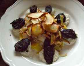 boudin noir with celeriac potatoes pears parsnips
